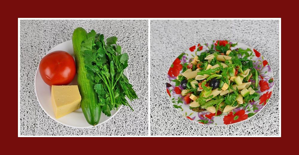 Mediterraner Nudelsalat mit Tomaten, Gurken, Käse und Rucola