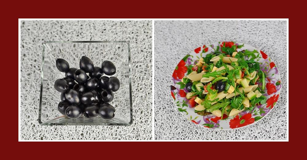 Mediterranter Nudelsalat mit schwarzen Oliven ohne Kerne