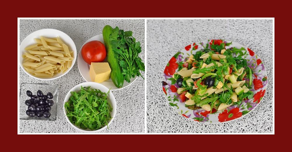 Mediterraner Nudelsalat mit Tomaten, Gurken, Käse, Oliven und Rucola