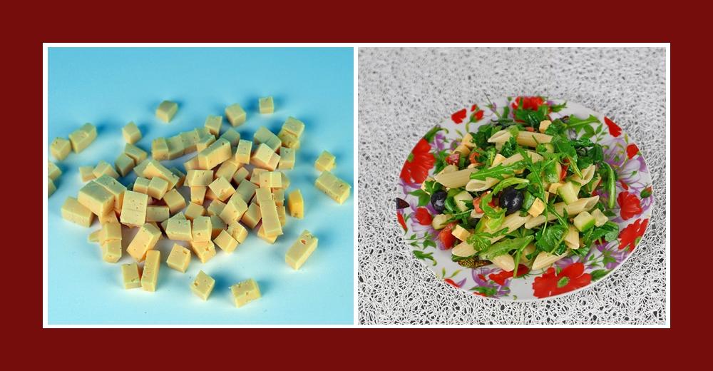 Mediterraner Nudelsalat mit klein geschnittenem Käse