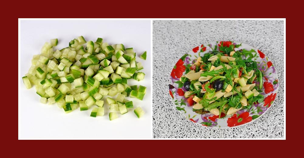 Mediterraner Nudelsalat mit klein geschnittenen Gurken