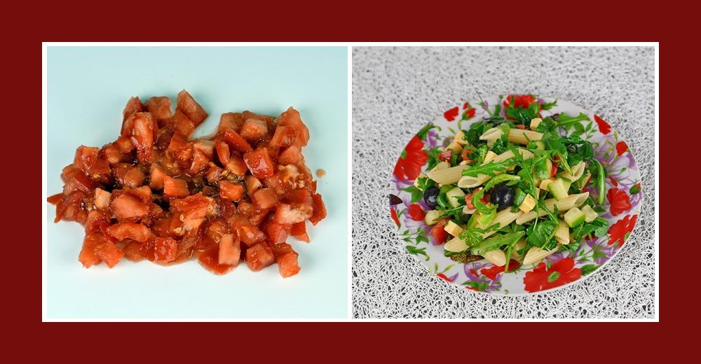 Mediterraner Nudelsalat mit klein geschnittenen Tomaten