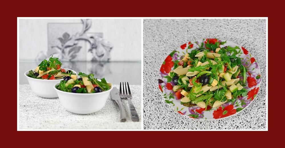 Gesunder und leckerer Nudelsalat mit mediterranen Zutaten