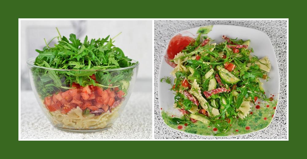 Nudelsalat mit Tomaten, Rucola und Salami aus der mediterranen Küche