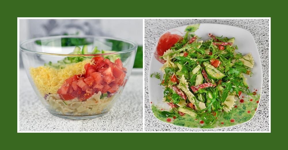 Nudelsalat mit Wurst, Gemüse und geraspeltem Käse