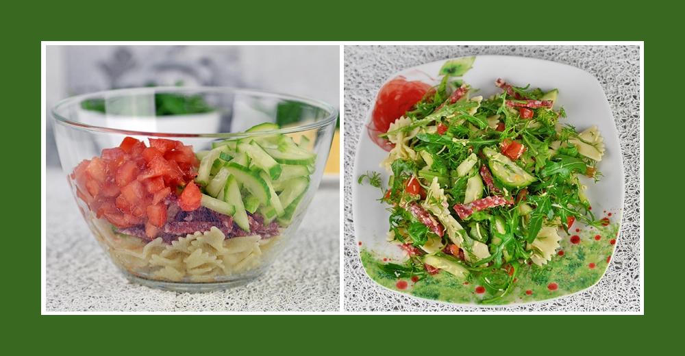 Nudelsalat mit Wurst, Tomaten und Gurken