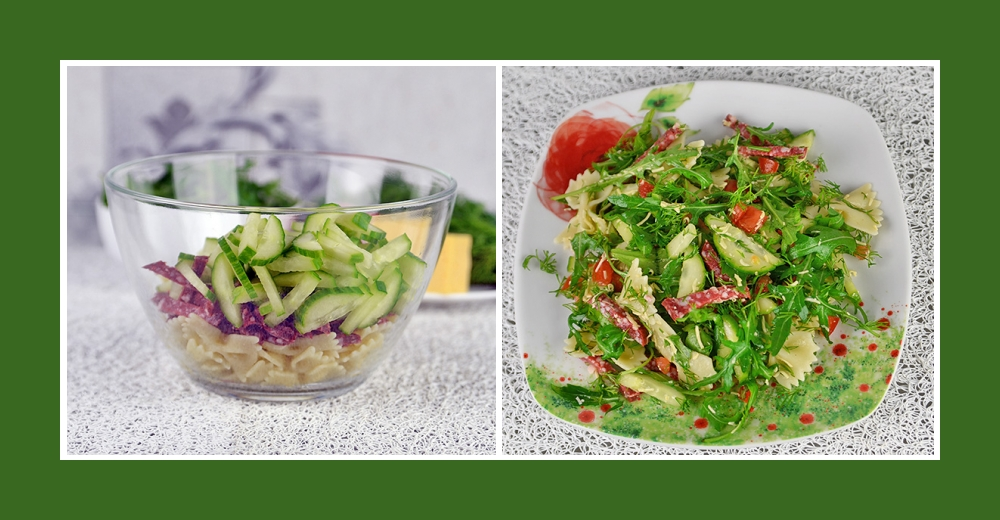 Nudelsalat mit pikanter Wurst und frischen Gurken