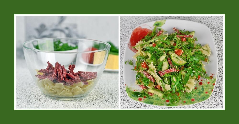 Nudelsalat mit Gemüse und pikanter Salami Wurst