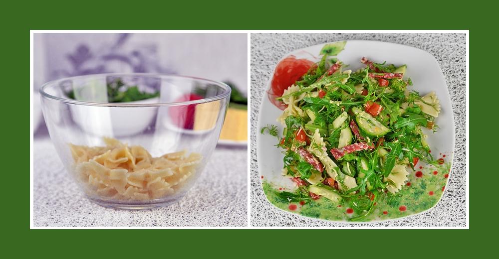 Nudelsalat mit Salami und Gemüse