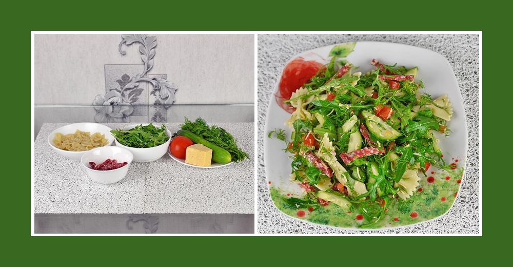 Nudelsalat mit Salami, Käse, Rucola, Tomaten und Gurken