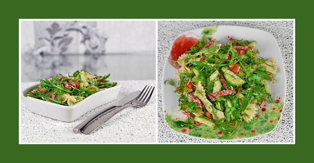 Mediterranter Salat zum Geburtstag mit Nudeln, Salami, Rucola, Tomaten