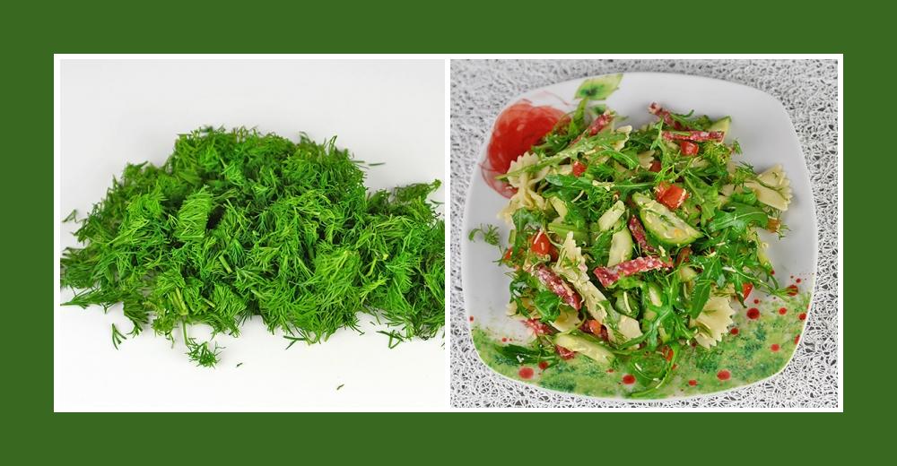 Pikanter Dill für den Nudelsalat mit Salami