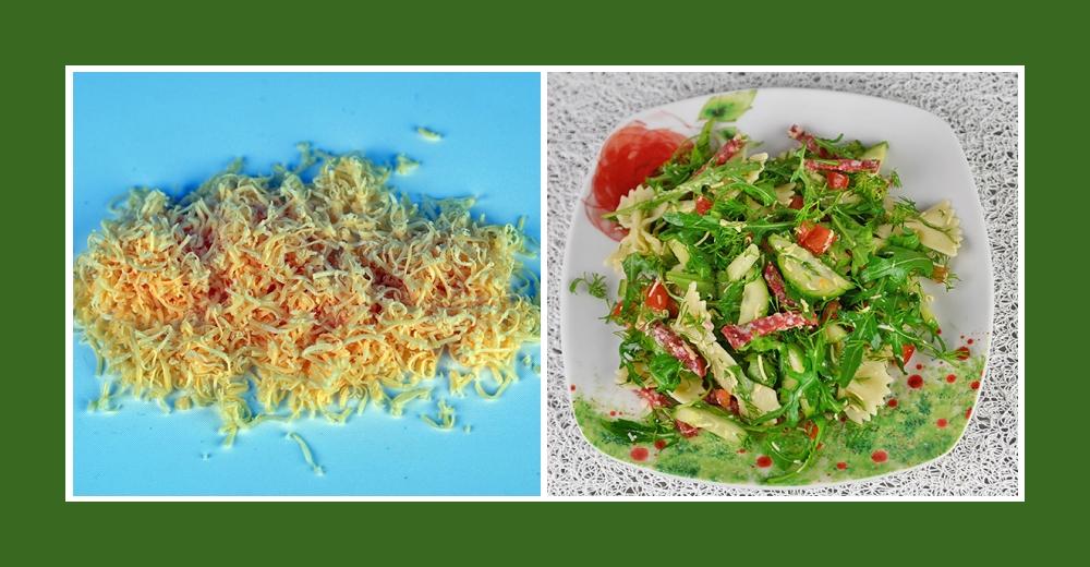 Nudelsalat mit Wurst, frischem Gemüse und Käse Parmesan