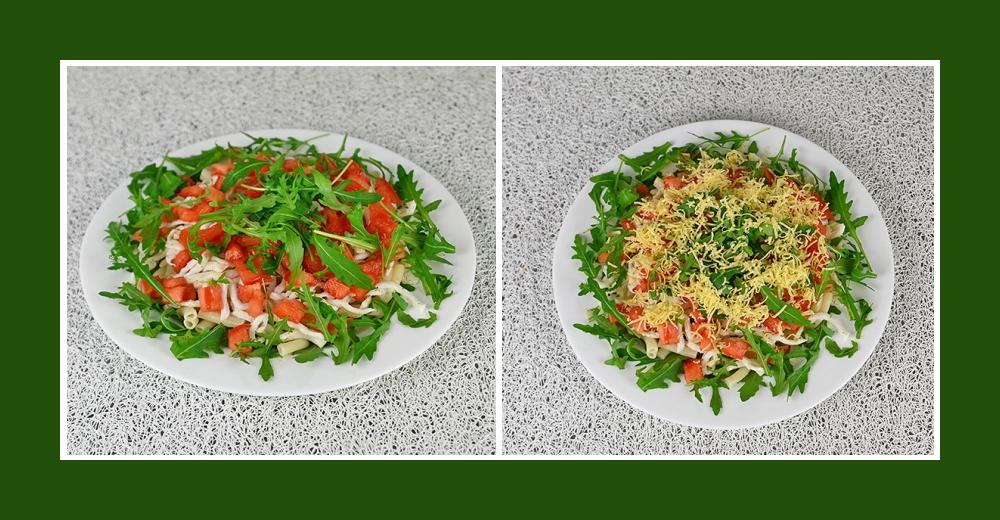 Gemüsesalat mit Nudeln und Rucola