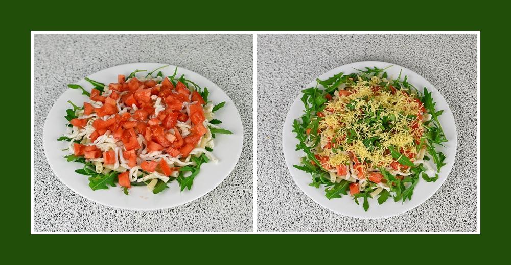 Mediterraner Salat mit Rucola, Nudeln, Kalmaren und Tomaten