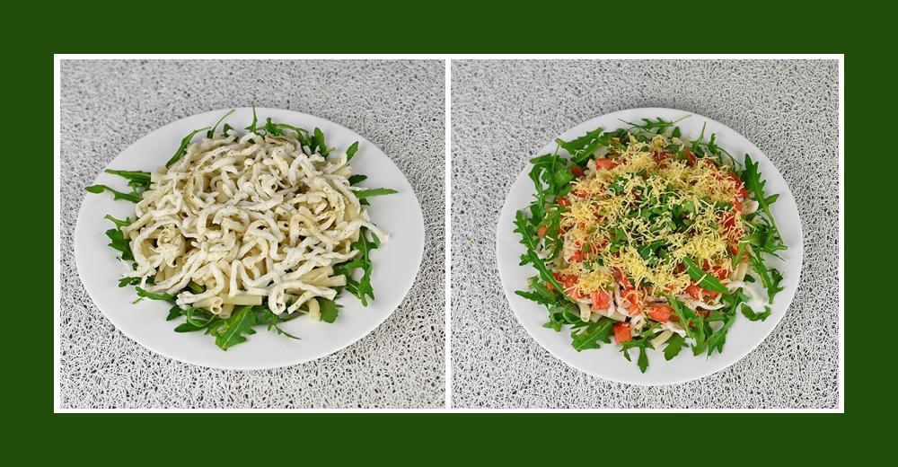 Mediterraner Salat mit Rucola, Nudeln und Kalmarenfleisch