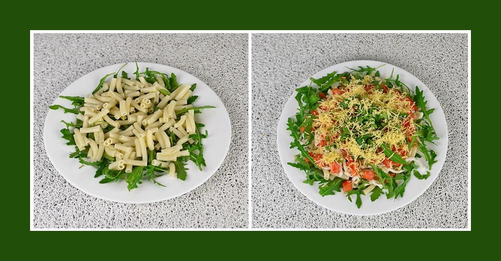 Mediterraner Salat mit Rucola und gekochten Nudeln