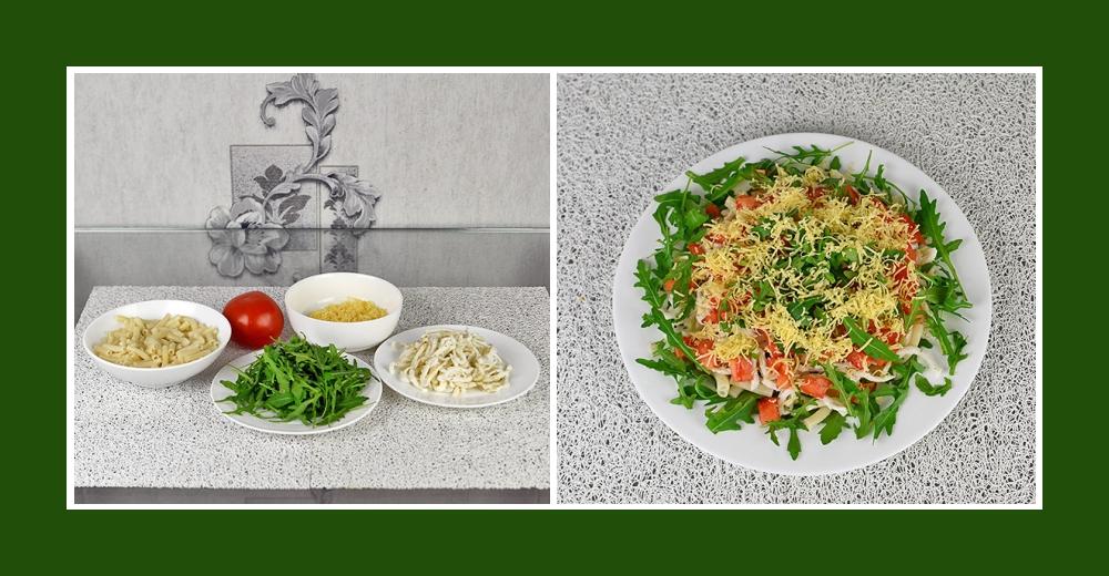 Nudelsalat mit Rucola und Kalmaren, Tomaten, Käse