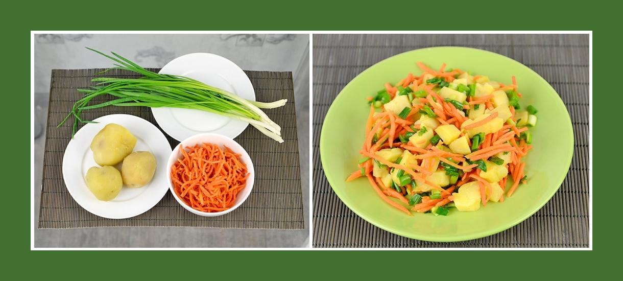 Bunter Salat aus Kartoffeln, Schnittlauch und koreanischen Karotten