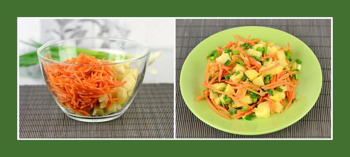 Würziger Kartoffelsalat mit koreanischen Karotten