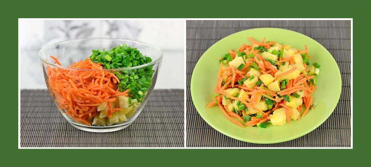 Kartoffelsalat mit koreanischen Karotten und Schnittlauch