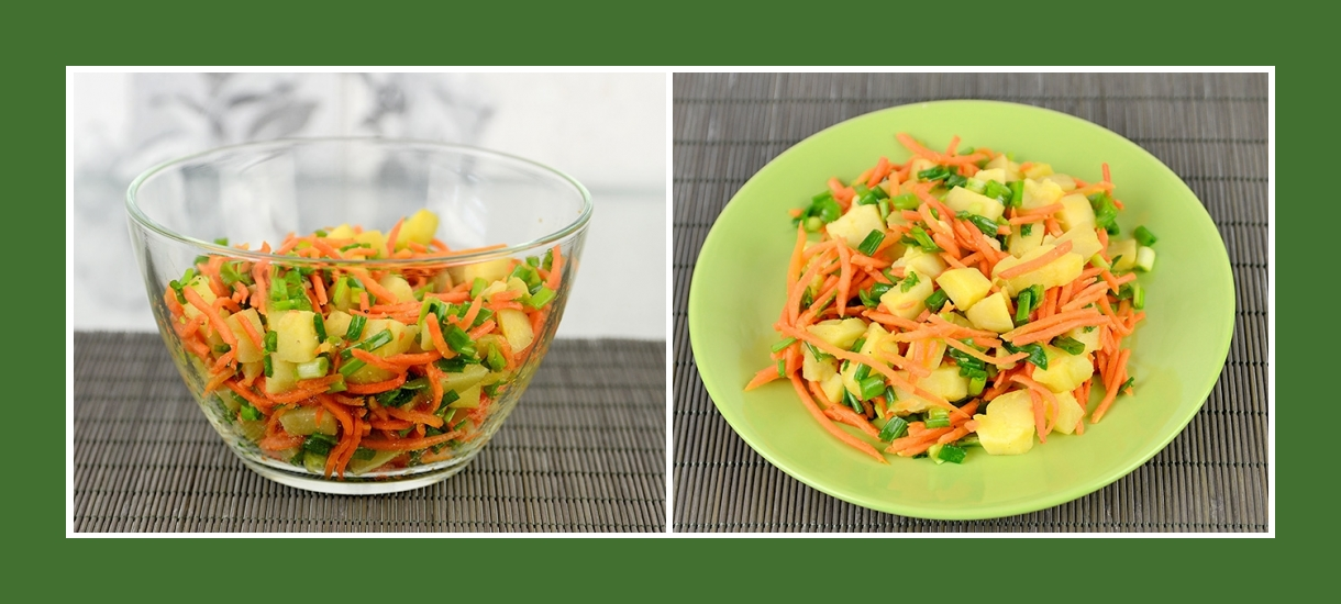 Bunter Salat mit koreanischen Karotten, Kartoffeln und Schnittlauch