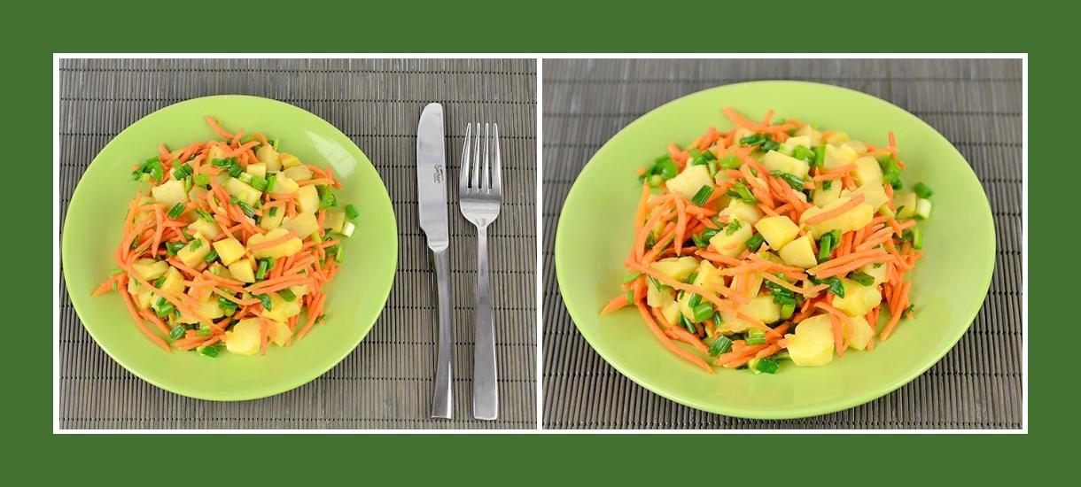 Wintersalat aus gekochten Kartoffeln, Schnittlauch und koreanischen Karotten