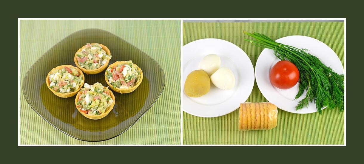 Snack aus Torteletts, Eiern, Tomaten, Dill und Kartoffeln