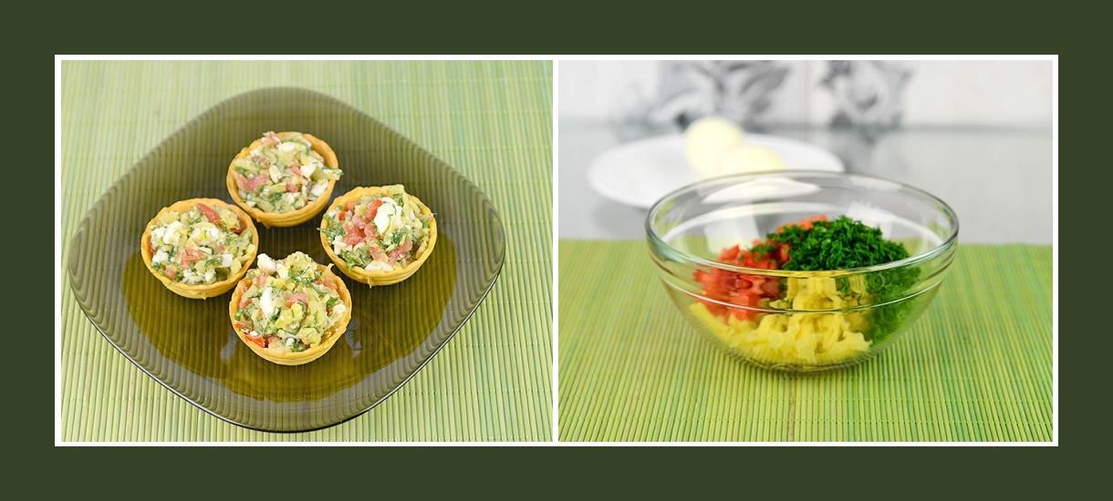 Torteletten mit Kartoffeln, Dill und Tomaten