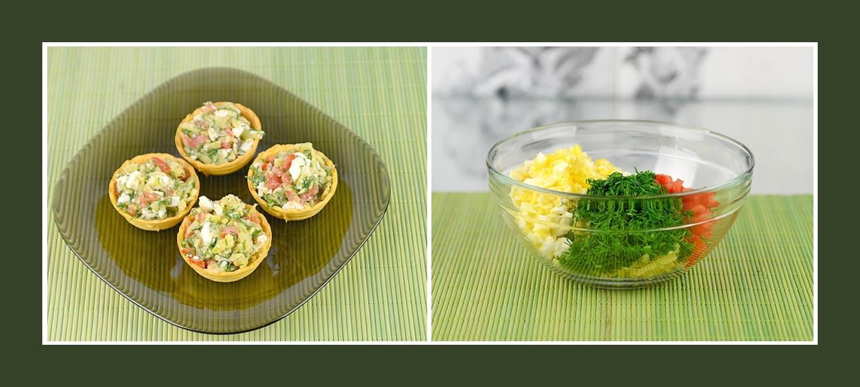 Feine Torteletten mit Tomaten, Ei, Dill und Kartoffeln