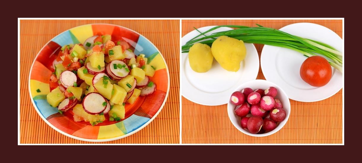 Frühlingssalat aus Radieschen, gekochten Kartoffeln, Schnittlauch, Tomaten
