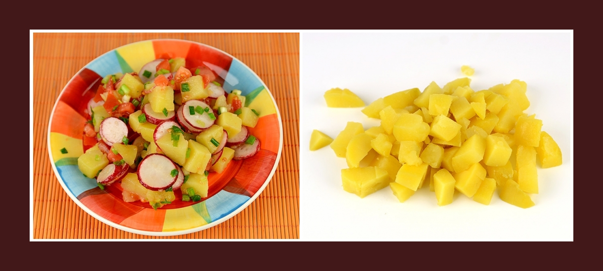 Bunter Gemüsesalat mit gekochten Kartoffeln