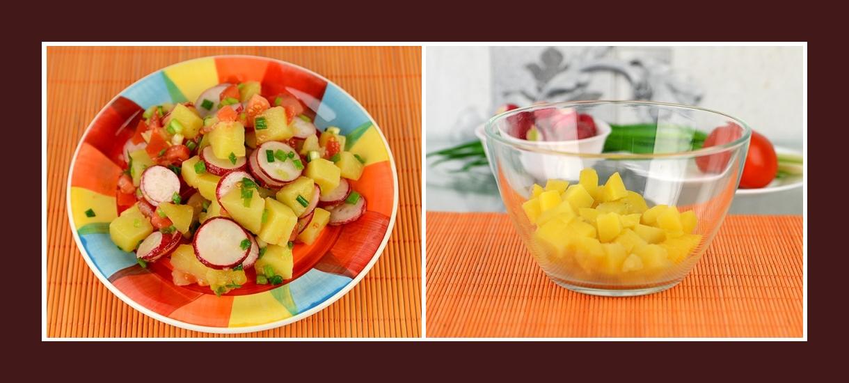Gesunder Salat mit Frühlingskartoffeln