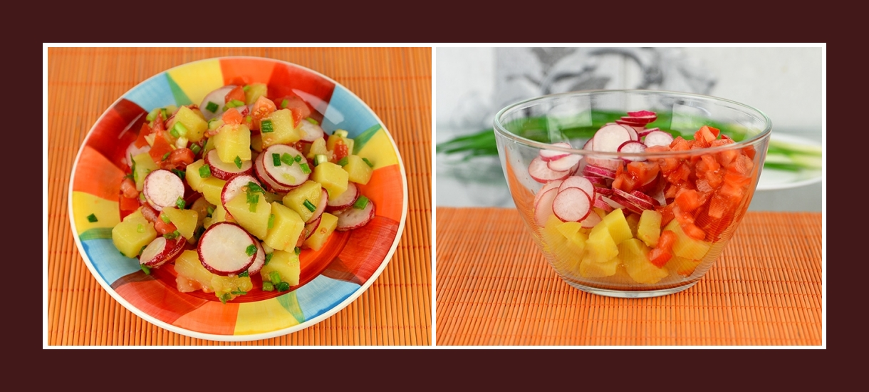 Bunter Frühlingssalat mit Tomaten, Kartoffeln und Radieschen