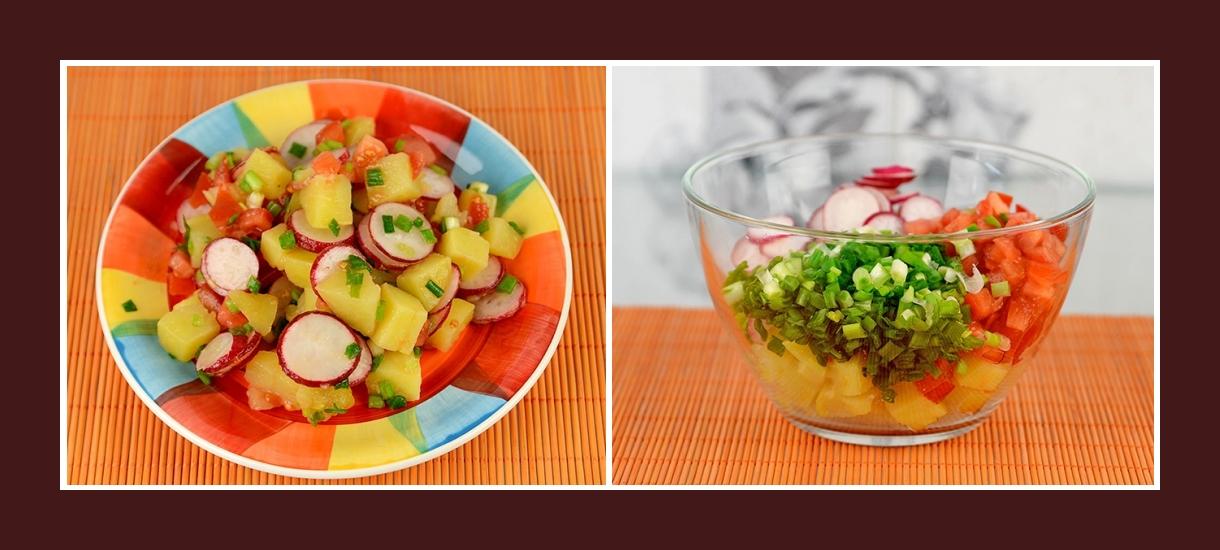 Pikanter Frühlingssalat mit Schnittlauch, Radieschen, Tomaten und Kartoffeln