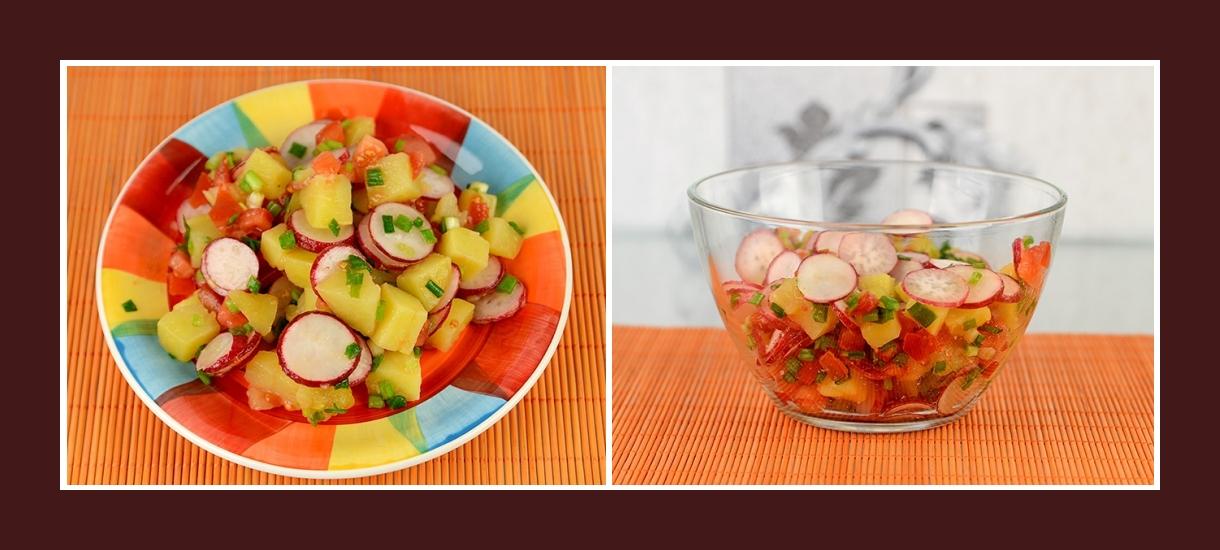 Bunter Salat mit pikanten Radieschen und Schnittlauch, Kochkartoffeln und Tomaten