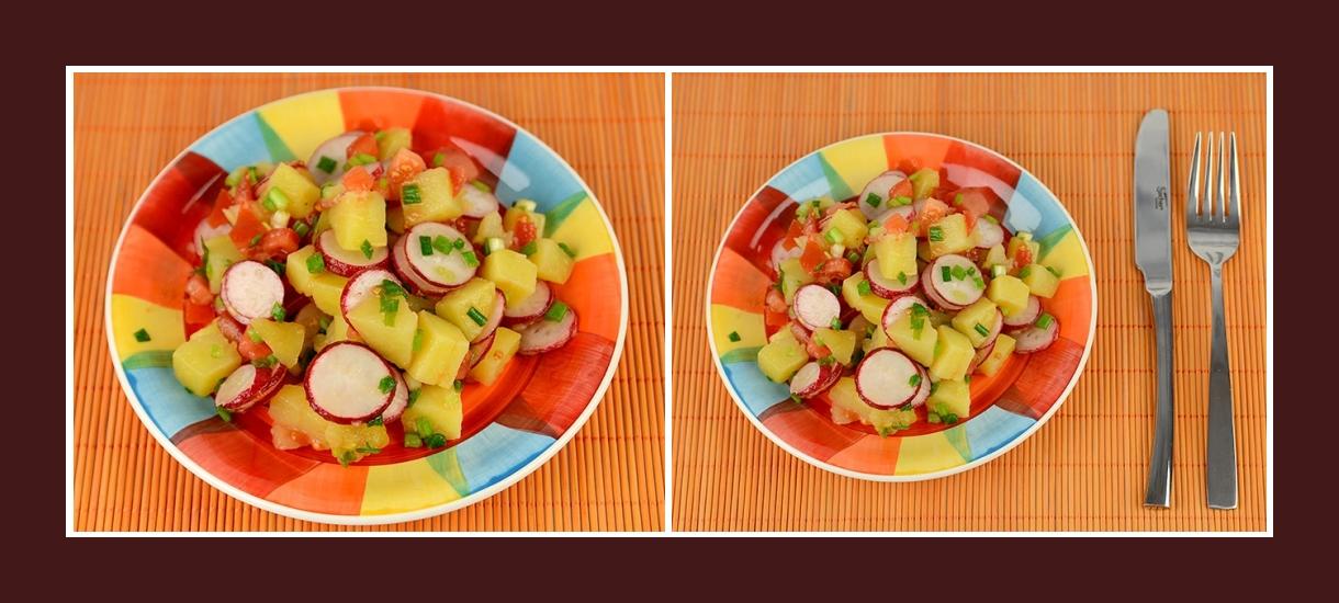 Bunter saisonaler Salat Frühling mit Radieschen