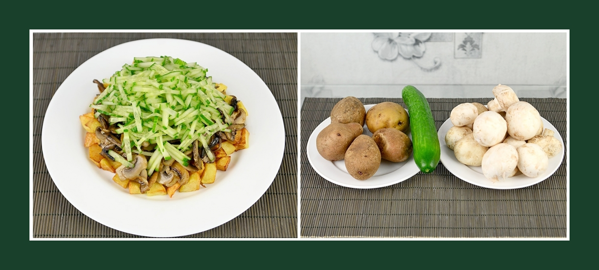 Pikanter Salat mit Bratkartoffeln, frischen Gurken und Champignons