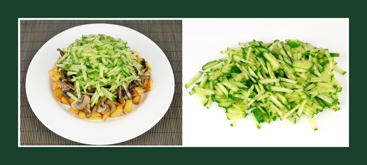 Warmer Salat mit knusprigen frischen Gurken