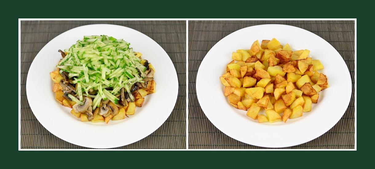 Pikanter Schichtsalat mit Bratkartoffeln