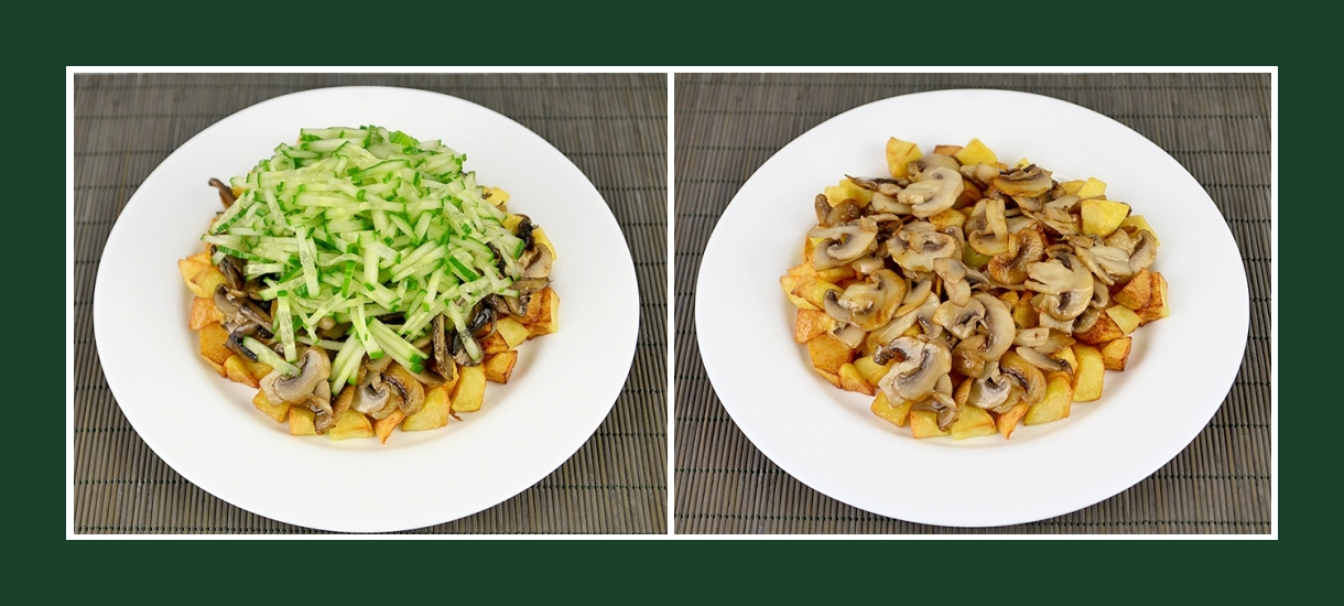 Pikanter Schichtsalat mit Bratkartoffeln und gebrateten Pilzen