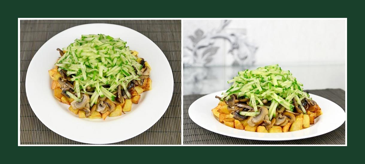Pikanter Schichtsalat mit Bratkartoffeln, gebrateten Pilzen und frischen Gurken