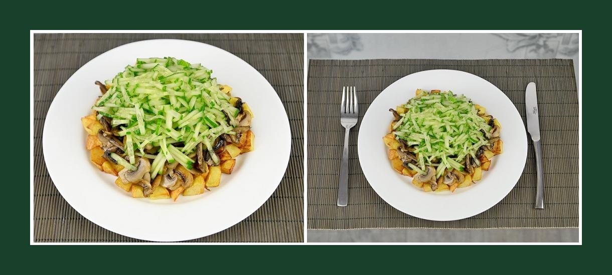 Warmer und pikanter Schichtsalat aus Kartoffeln, Champignons und Gurken