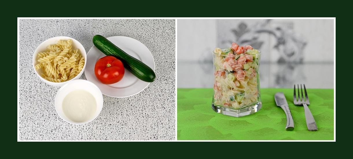 Zarter Nudelsalat mit Fusilli, Gurken, Tomaten und Schmand