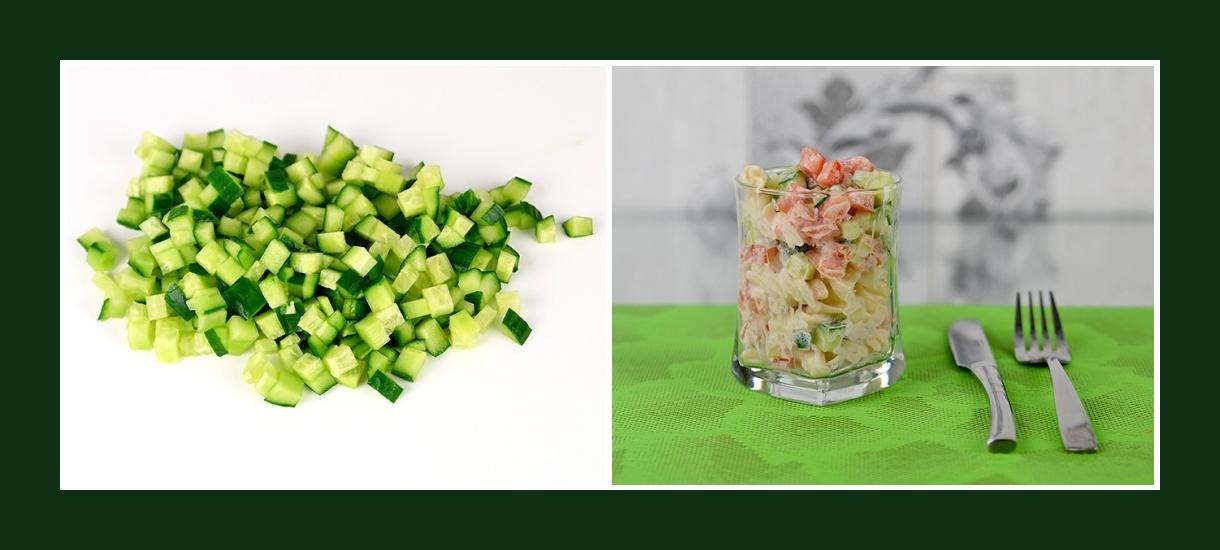 Zarter Nudelsalat mit kleingeschnittenen Gurken
