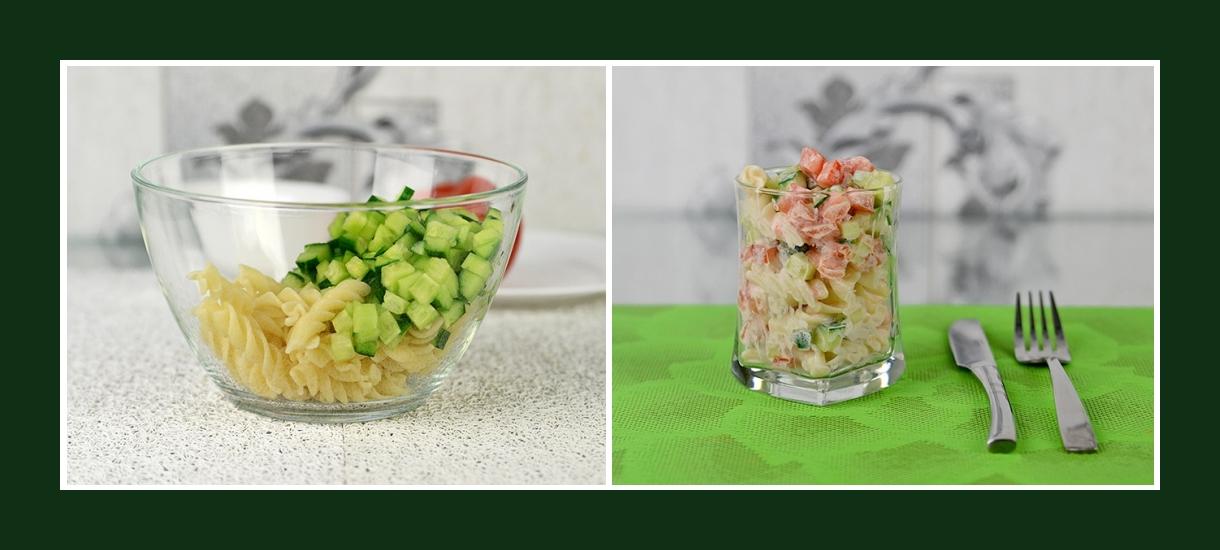 Italienischer Salat mit Fusilli Nudeln und Gurken