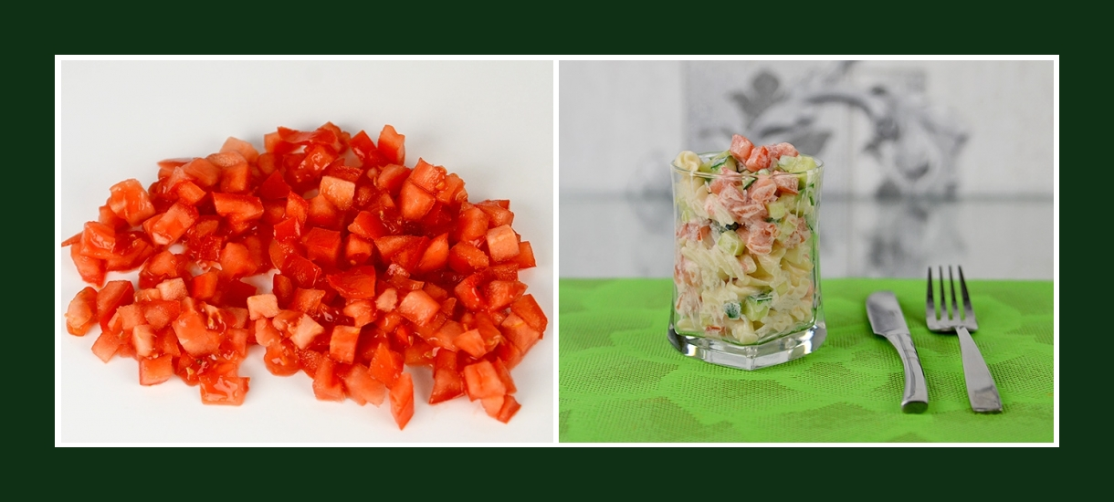 Zarter Nudelsalat mit Tomaten kleingeschnitten