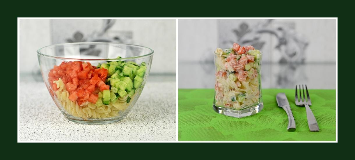 Sommerlicher Nudelsalat mit Fusilli, Gurken und Tomaten