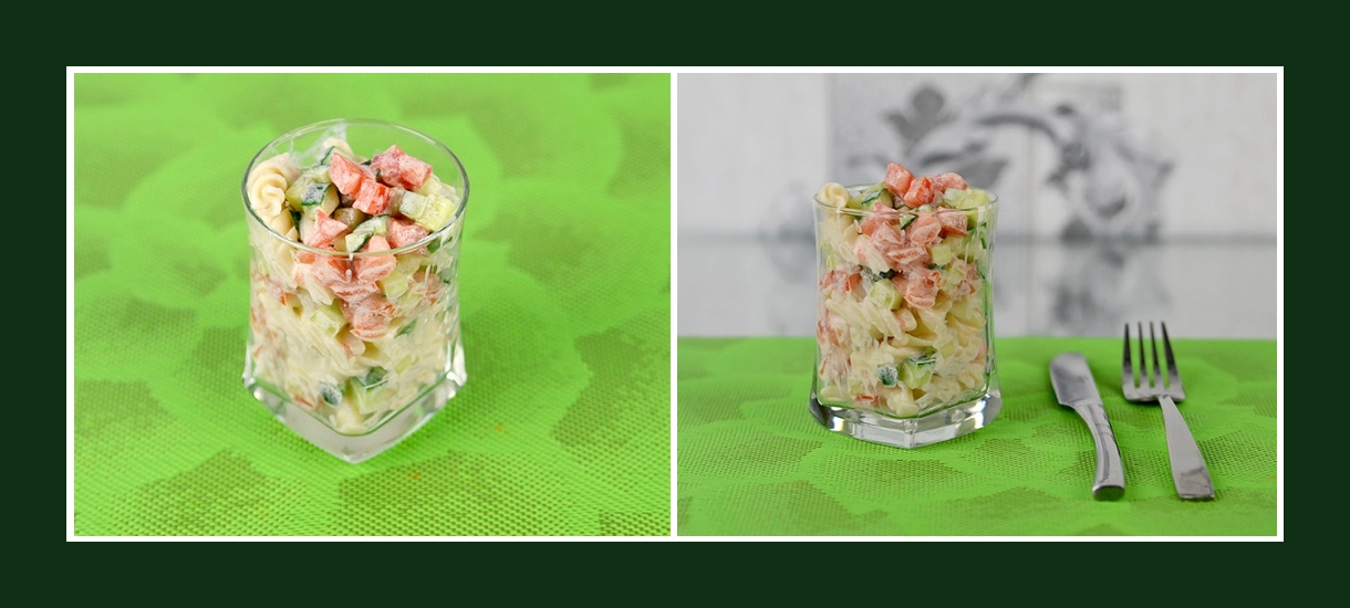Kleine Portionen von zartem Nudelsalat mit frischem Gemüse