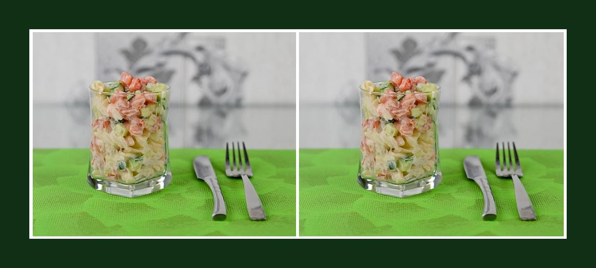 Nudelsalat mit frischem Gemüse und zartem Dressing zum Geburtstag